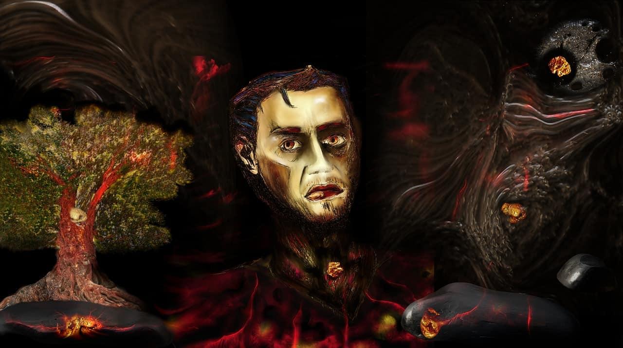 Mensch, verfolgt von Dämonen