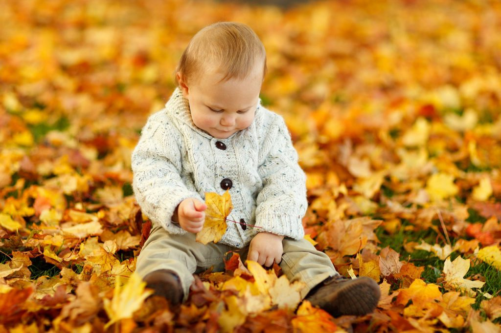 Kind spielt mit Blättern, egal ob neurotypisch, hochsensibel oder Asperger
